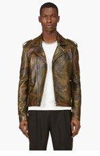 PYER MOSS Green Leather Camo Killer Biker Jacker for men