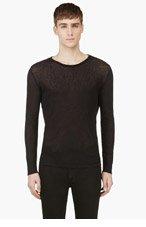 BLK DNM Black Semi-Sheer Long Sleeve T-Shirt for men