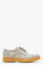 CARVEN Tan & White Textile Derby Shoes for men