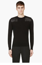 VERSUS Black Leather Patch Sweater for men