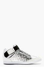 Y-3 Silver & White Kazuhiri Mid Top Sneakers for men
