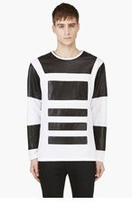 PYER MOSS White Leather Panel McNeal T-Shirt for men