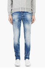 DSQUARED2 Blue Raffia-trimmed RIPPED & PAINTED COOL GUY JEANS for men