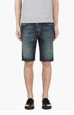 DSQUARED2 Blue Distressed & Painted Denim Shorts for men