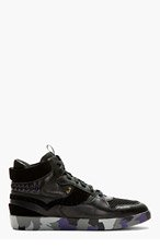PAUL SMITH JEANS Black Leather Brogued High-Top Sneakers for men