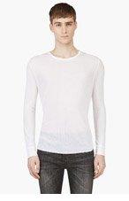 BLK DNM White Semi-Sheer Long Sleeve T-Shirt for men