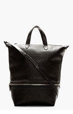 ALEXANDER WANG Black leather Convertible tote and messenger bag for men