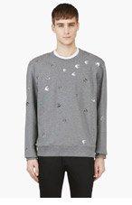 MCQ ALEXANDER MCQUEEN Grey Studded Crewneck Sweatshirt for men