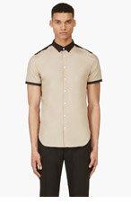 CY CHOI Beige & Black Short Sleeve Shirt for men