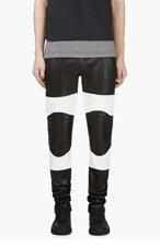 PYER MOSS Black Colorblocked Lambskin Biker Pants for men
