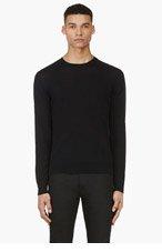VALENTINO Black Colorblocked Crewneck Sweater for men