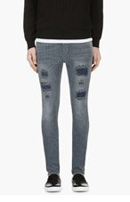 NUDIE JEANS Gray Distressed High Kai Jeans for men