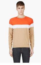 DSQUARED2 Orange & Beige Mesh-paneled Sweater for men