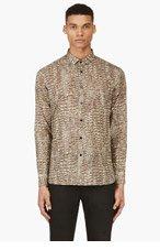 SAINT LAURENT Tan Python Print Shirt for men