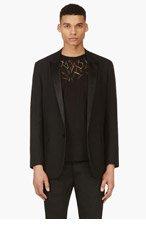 SAINT LAURENT Black Wool Peaked Lapel Blazer for men