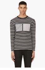 CY CHOI Black Framed Stripe t-Shirt for men