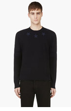 GIVENCHY Navy Star Patch Cotton Sweater for men
