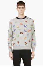 MAISON KITSUNE Heather Grey Fox Sweater for men