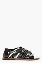 DOLCE & GABBANA Black Leather Lace Up Sandals for men