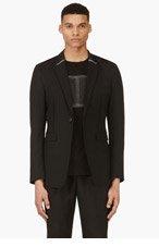 CY CHOI Black Wool Contrast Trim Blazer for men