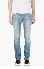 BLK DNM Blue Distressed Slim Jeans for men