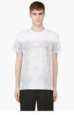 KRISVANASSCHE White & Green Croc Print T-shirt for men