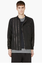 PYER MOSS Black Leather Sleeve Douglas Jacket for men