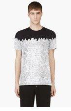KRISVANASSCHE Black & White Croc Print t-shirt for men