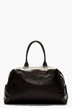 ANN DEMEULEMEESTER Black Leather Side Strap Duffle Bag for men