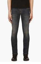 SAINT LAURENT Blue Faded Skinny Jeans for men