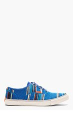 PAUL SMITH JEANS Blue Embroidered Stripe Sneakers for men