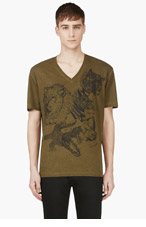 DSQUARED2 Heather Green & Black ANimal print T-shirt for men