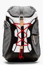 Y-3 White & Black Mesh Overlay Backpack for men