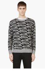 A.P.C. Grey & Black Wool Zebra Sweater for men