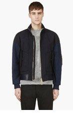 JUUN.J Navy Blue Leather & Denim Bomber for men