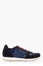 PAUL SMITH Navy Crumple Sneakers for men
