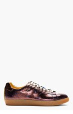 PAUL SMITH JEANS Aubergine Crackled Leather Sneakers for men