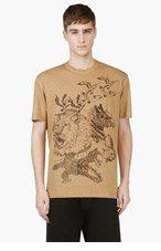 DSQUARED2 Camel Tan Animal Print T-shirt for men