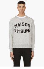 MAISON KITSUNE Heather Grey Logo Sweater for men