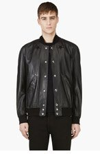GIVENCHY Black Lambskin Star Patch Bomber Jacket for men