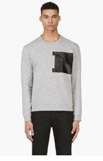 VALENTINO Grey Leather Patch Pocket Sweatshirt for men