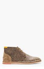 PAUL SMITH JEANS Khaki Leather Leopard Chuka Boots for men