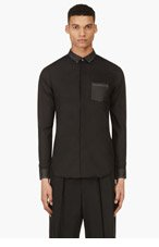 CY CHOI Black Coated Detail Shirt for men