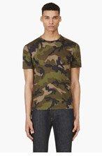VALENTINO Green Camo Stud Detail T-Shirt for men