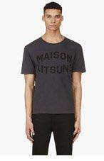 MAISON KITSUNE Slate Blue Logo T-Shirt for men