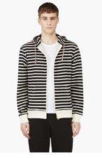MAISON KITSUNE Black & White Striped Hoodie for men
