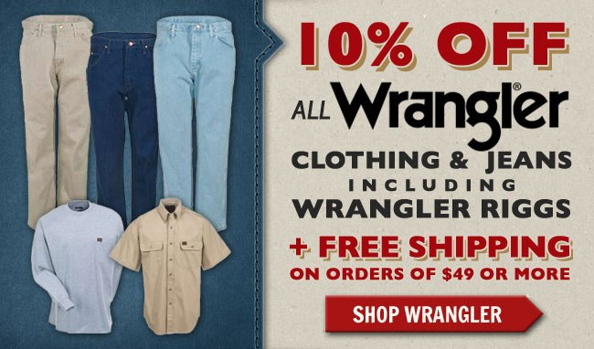 Get 10% Off All Wrangler & Riggs Jeans/Clothing + FREE Shipping This Week!