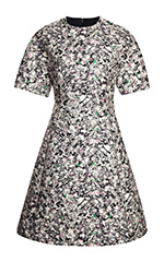 Carpet Pad Jacquard Short Sleeve Waisted Dress