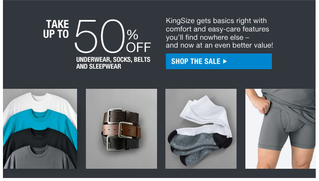 take up to 50 percent off underwear, socks, belts and sleepwear - shop the sale