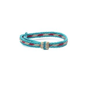Chamula Horse Hair Braided Bracelet Turquoise/White/Red